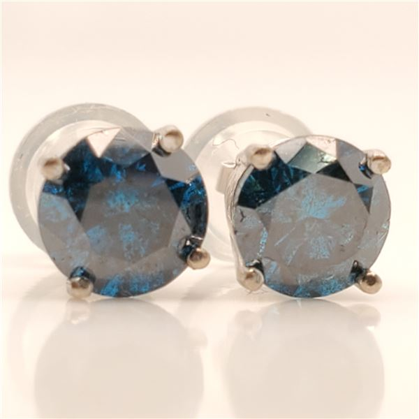 14K BLUE DIAMOND(1.18CT) EARRINGS