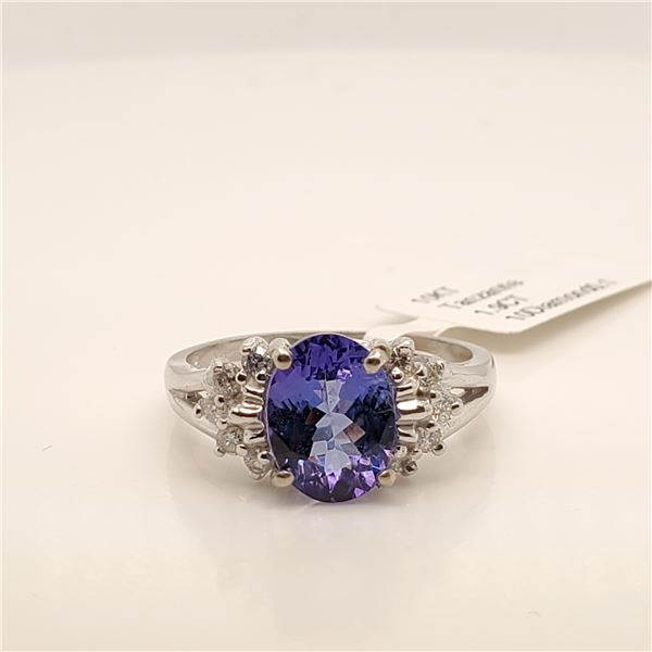 10K NATURAL TANZANITE(1.9CT) DIAMOND(0.1CT) RING SIZE 6