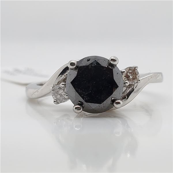 10K BLACK DIAMOND(1.7CT) DIAMOND(0.08CT) RING SIZE 7