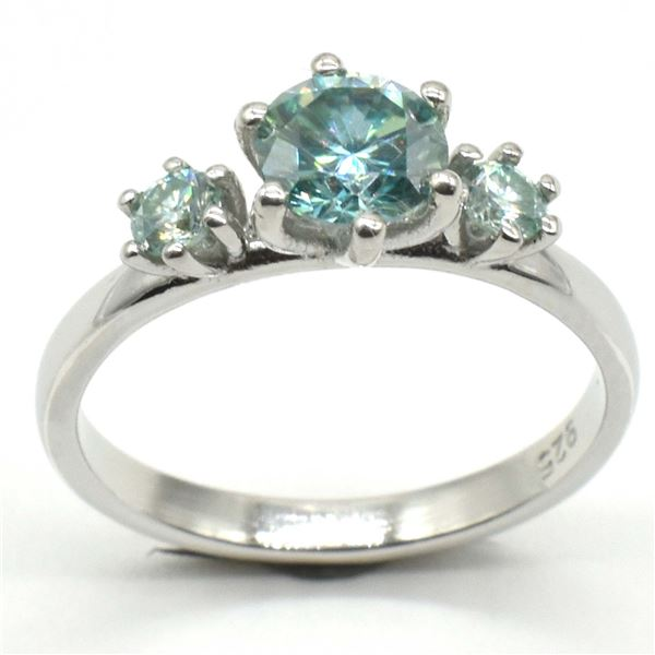 SILVER BLUE MOISSANITE (ROUND 6 & 3 MM)(2.4CT) RING