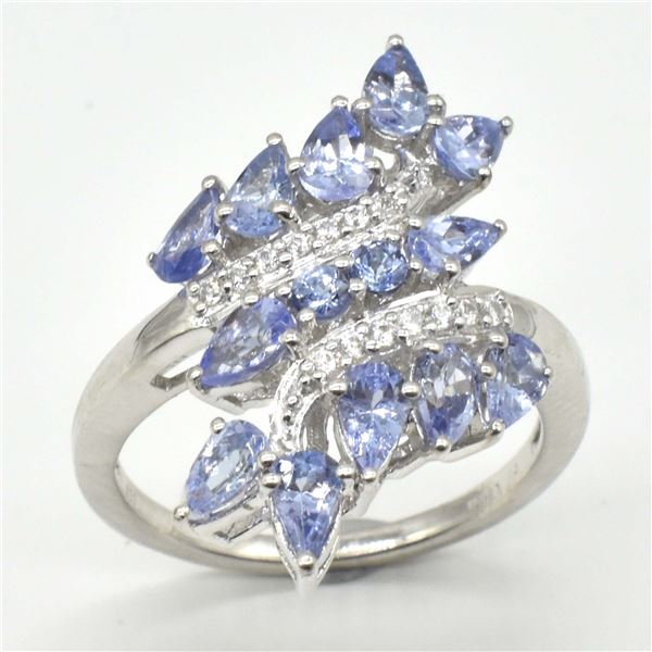 SILVER TANZANITE WHITE TOPAZ(9.9CT) RING