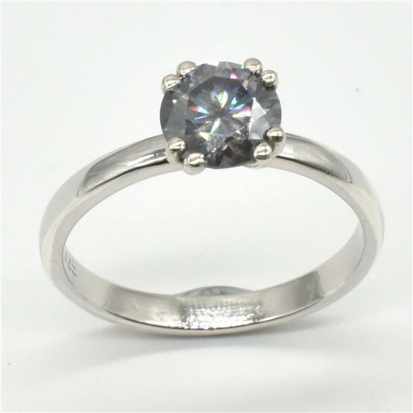 SILVER GRAY MOISSANITE ( ROUND 6 MM)(2.3CT) RING