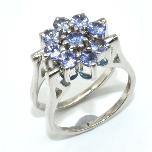 SILVER TANZANITE BLUE TOPAZ(7.4CT) RING
