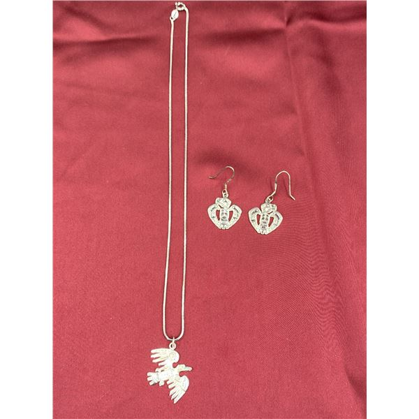 .925 SILVER NECKLACE WITH FIRST NATIONS WEST COAST PENDANT & EARRINGS