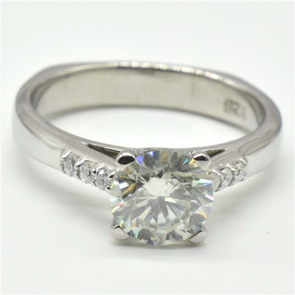 SILVER  MOISSANITE ( ROUND 7 MM)(4.05CT) RING