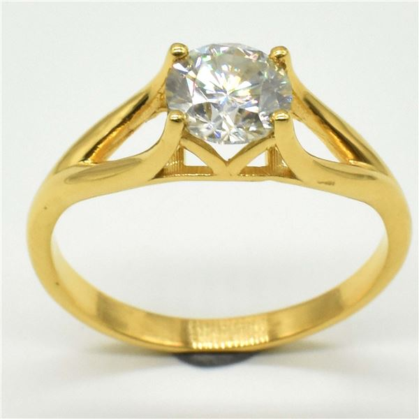 ROSE GOLD PLATED SILVER MOISSANITE ( ROUND 7X7 MM)(2.95CT) RING