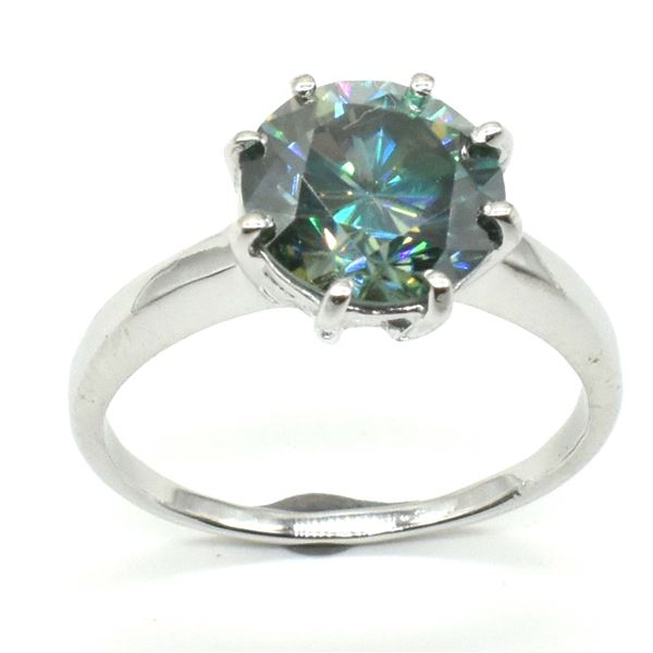 SILVER GREENISH BLUE MOISSANITE ( ROUND 9.5 MM)(2.45CT) RING