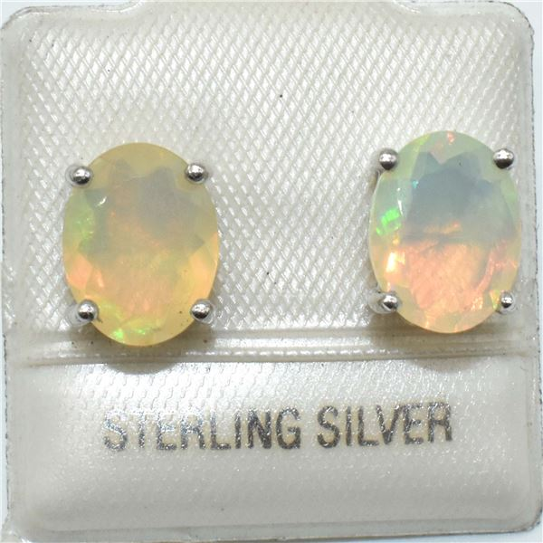SILVER OPAL( OVAL 9*7 MM)(1.95CT) EARRINGS