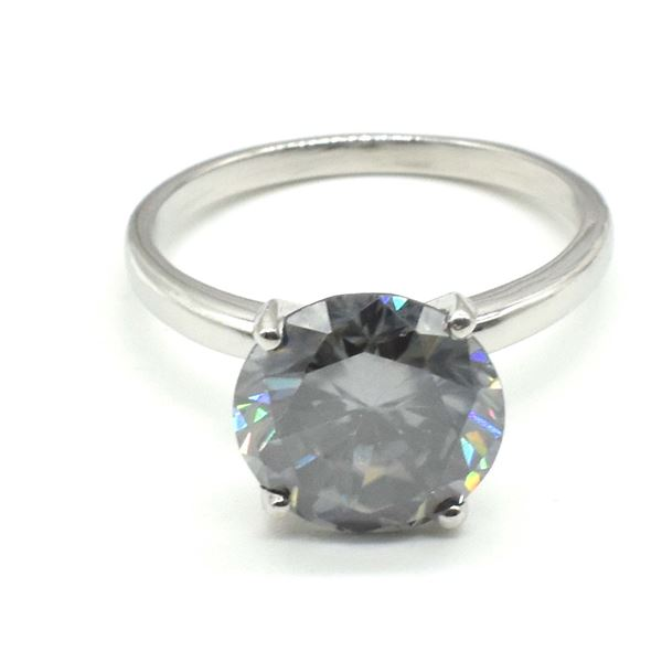 SILVER  GREY MOISSANITE (ROUND 9.5 MM)(3.4CT) RING