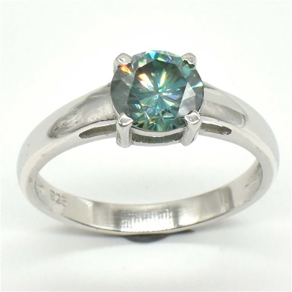 SILVER GREENISH BLUE MOISSANITE (ROUND 7.5 MM)(3.3CT) RING