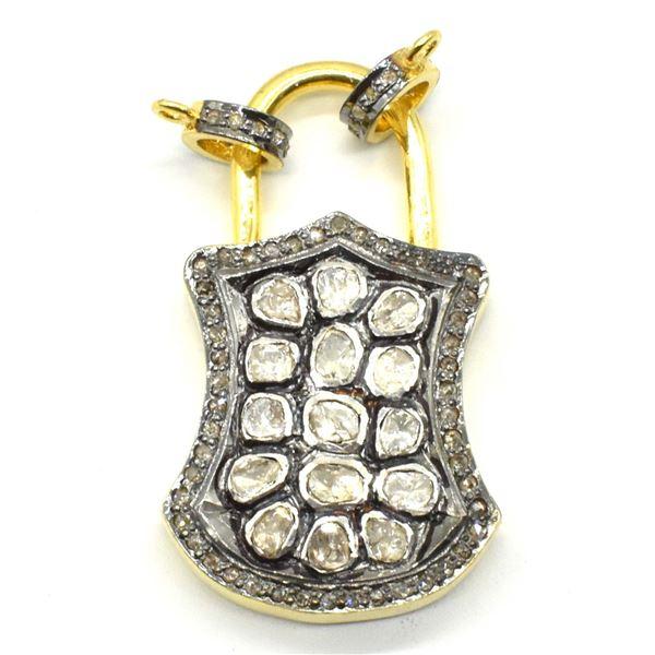ROSE GOLD PLATED SILVER ROSE CUT DIAMOND(16.75CT) PAD LOCK