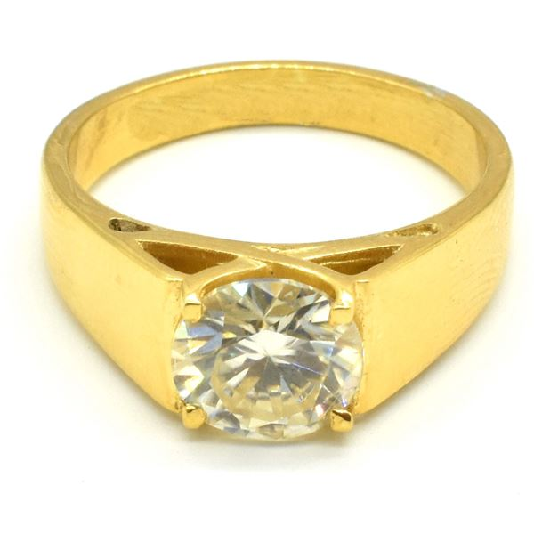 ROSEGOLD PLATED SILVER MOISSANITE(ROUND 8.5 MM)(6.25CT) RING