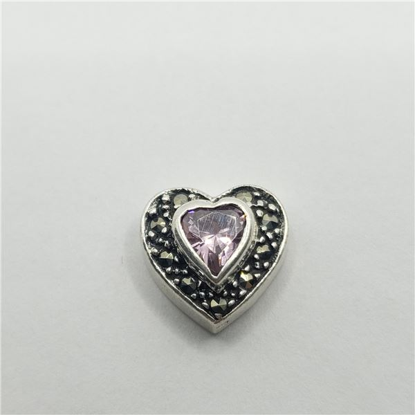 SILVER PINK CZ AND MARCASITE PENDANT
