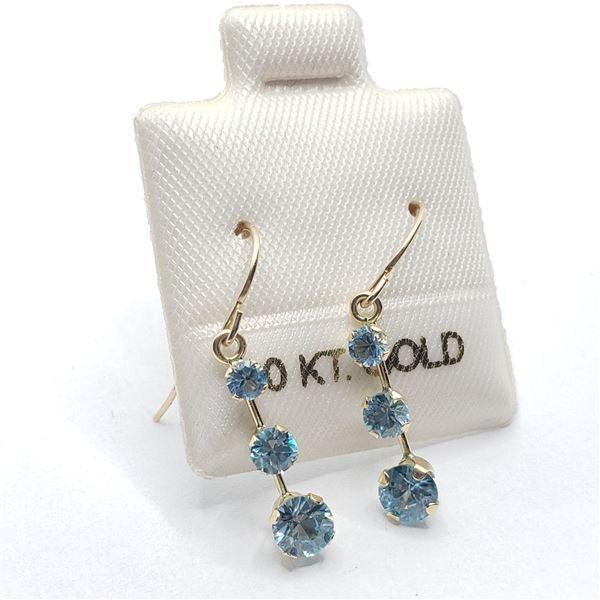 10K  BLUE ZIRCON(1.2CT) EARRINGS