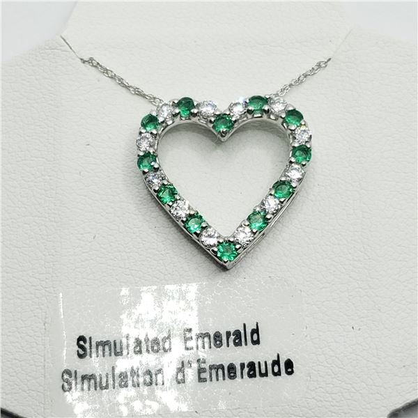 """SILVER CREATED EMERALD 18-20"""" NECKLACE"""