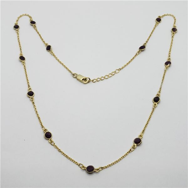 """SILVER RUBY 20"""" NECKLACE"""