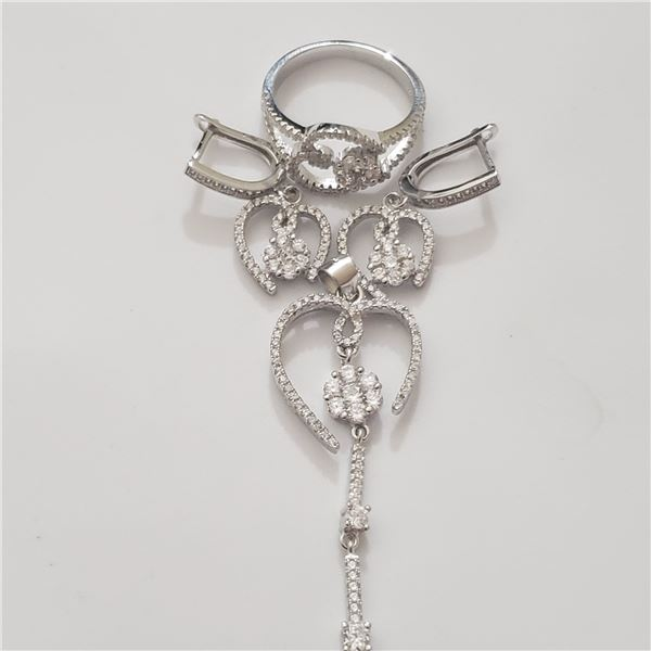 SILVER PENDENT RING AND EARRING CZ  SET
