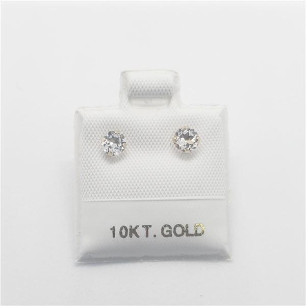 10K  WHITE TOPAZ(0.45CT) EARRINGS