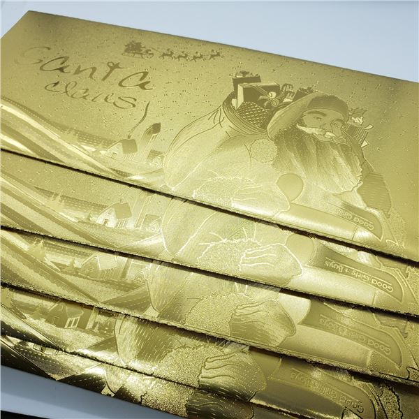 FIVE CHRISTMAS GOLD FOIL ENVELOPES