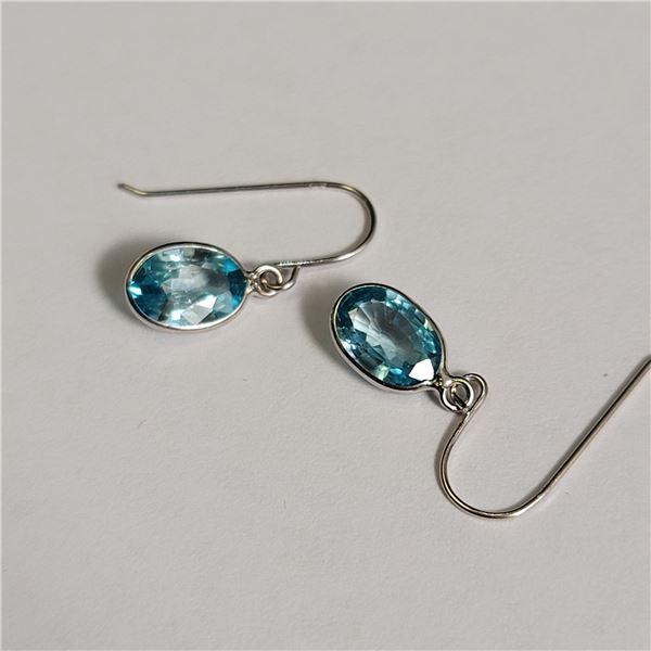14K  BLUE ZIRCON(APX 2CT) EARRINGS