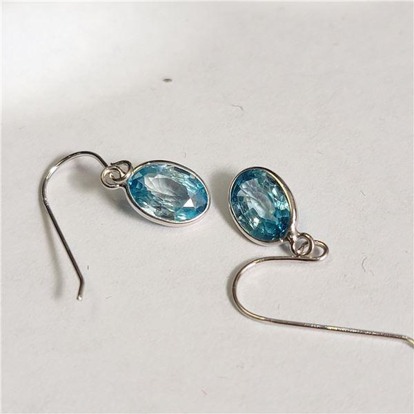 14K  BLUE ZIRCON(2.2CT) EARRINGS
