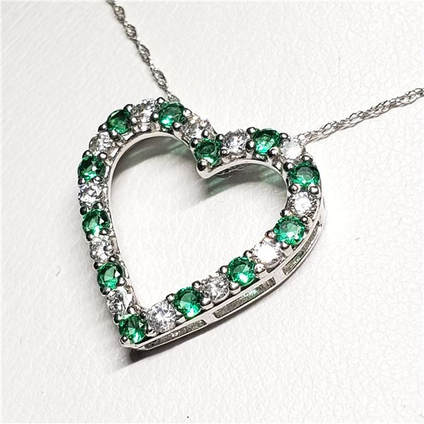 """SILVER CREATED EMERALD 18"""" NECKLACE"""