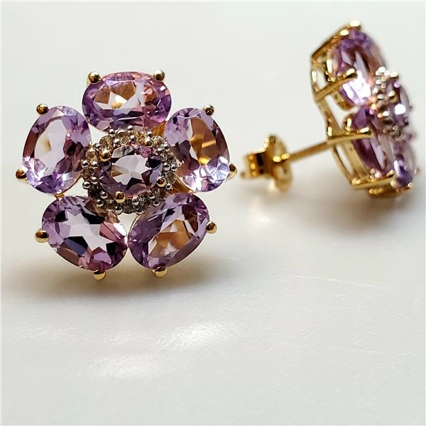SILVER AMETHYST AND WHITE TOPAZ(7.4CT) EARRINGS