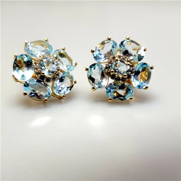 SILVER BLUE AND WHITE TOPAZ(10CT) EARRINGS