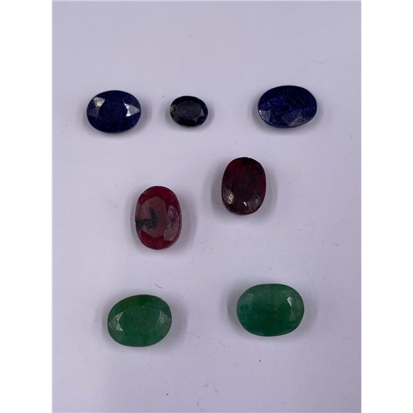 POLISHED AND FACETED ROUGH GEMSTONES; RUBY 26CT, SAPPHIRE 18.85CT, EMERALD 19.55CT