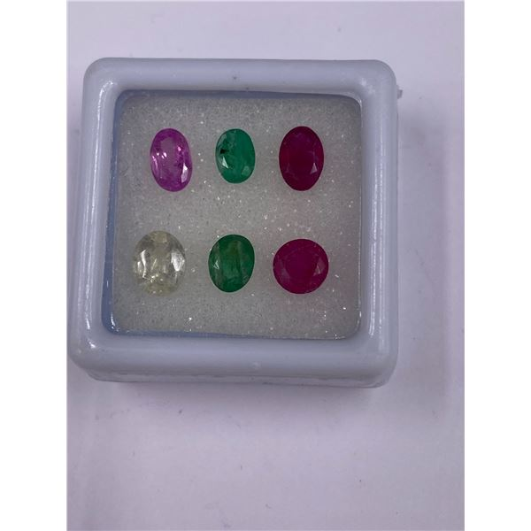 GEMSTONE MIX SAPPHIRE, EMERALD, RUBY 3.95CT, 6 X 4 AND 7 X 4MM, MIXED COLOUR, OVAL CUT, CLARITY