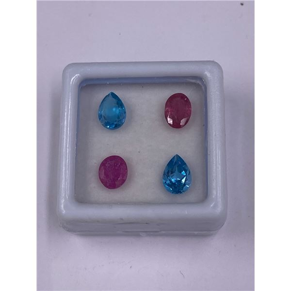 TOPAZ AND SAPPHIRE 3.60CT, 7 X 5MM, SWISS BLUE AND PINK COLOUR, OVAL CUT, CLARITY VS-VVS, LUSTER