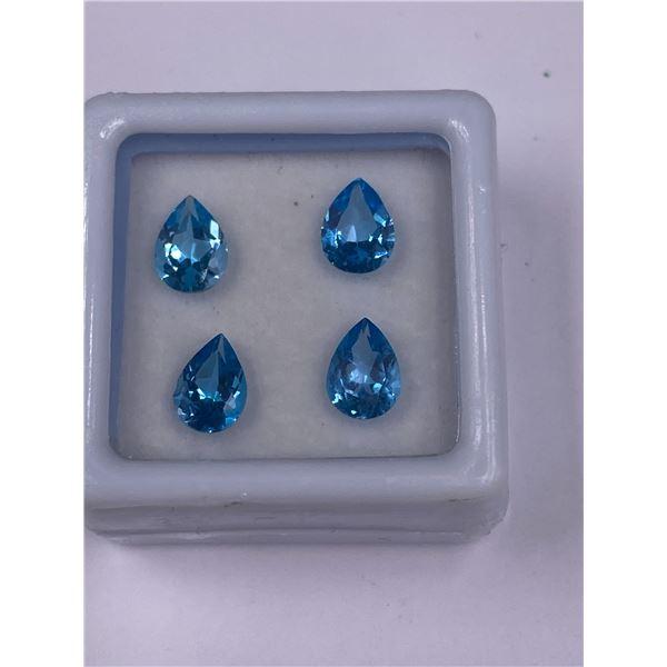 SPECTACULAR BLUE TOPAZ 3.40CT, 7 X 5MM, SWISS BLUE COLOUR, PEAR CUT, CLARITY VVS, ORIGIN BRAZIL,