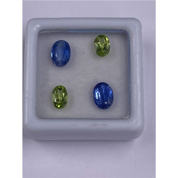 KYANITE AND PERIDOT 3.40CT, 6 X 4MM TO 7 X 5MM, BLUE AND VIVID GREEN COLOUR, OVAL CUT, CLARITY VVS,