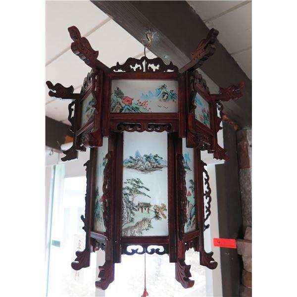 "Chinese Palace Lantern, Handpainted Scenes, Maker's Mark, 16"" Dia 27"" H"