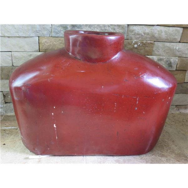 """Asian Clay Red Oblong Vase 17""""W 13""""H"""