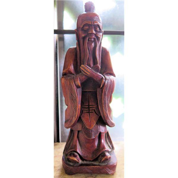 """Wood Carved Fu Manchu Statue 12"""" Tall"""