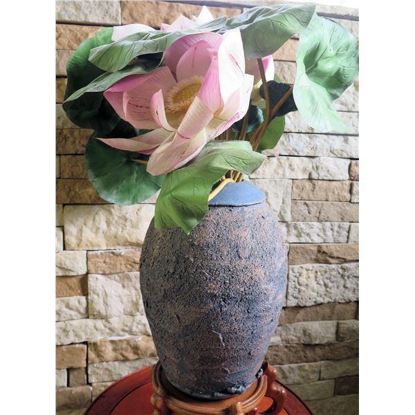 "Textured Ceramic Vase On Wood Pedestal w/Silk Lotus Flower, Signed by Artist 26"" Tall"