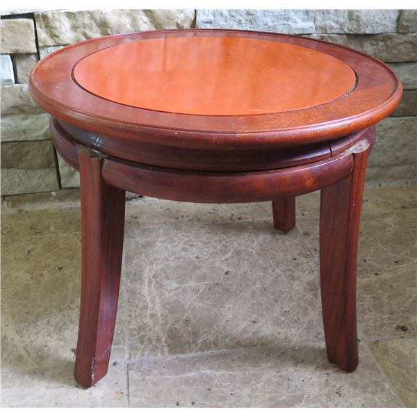 """Round Wooden Accent Table 16"""" Dia, 13"""" H"""