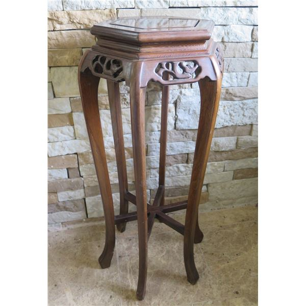 """Hexagon Wooden Stand w/Filigree Carving & Curved Legs, 14"""" Dia 32""""H"""