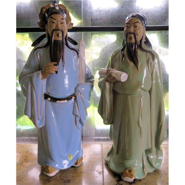 """Pair Chinese Porcelain Statues, Male Figures 12""""Tall"""