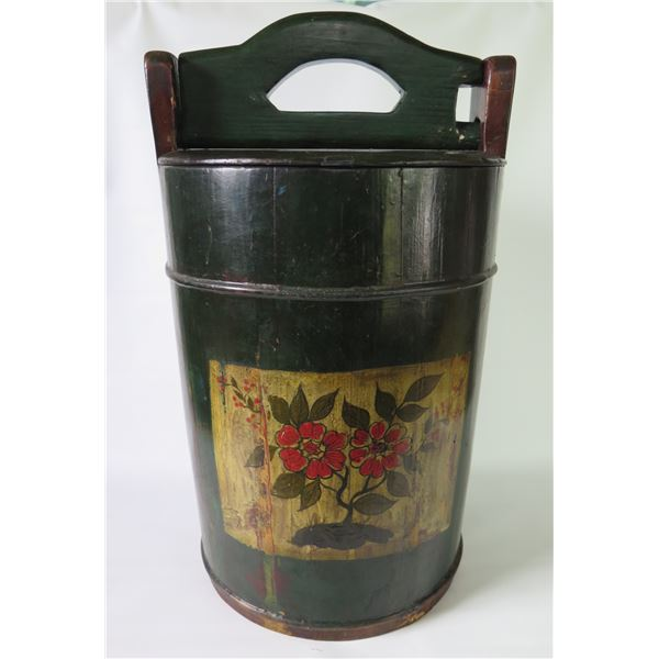 """Asian Wooden Rice/Water Bucket w/Floral Design 8""""W, 18""""H"""