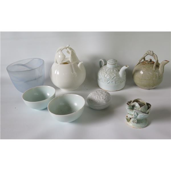 """Qty 8 Misc. Ceramic Teapots, Glass Bowl, Covered Dish (various sizes 2""""-4""""W)"""