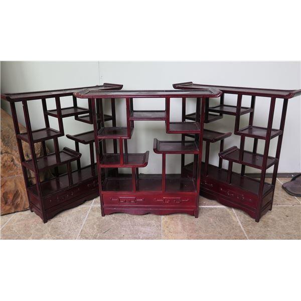 "Qty 3 Chinese Wood Display Stand w/Step Shelf 20""x 5.5"" x 19.5""H"