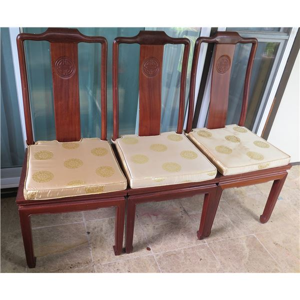 """Qty 3 Asian Wooden Carved Side Chairs w/Gold Fabric Cushions 16.5"""" x 15.5"""" x 39""""H"""