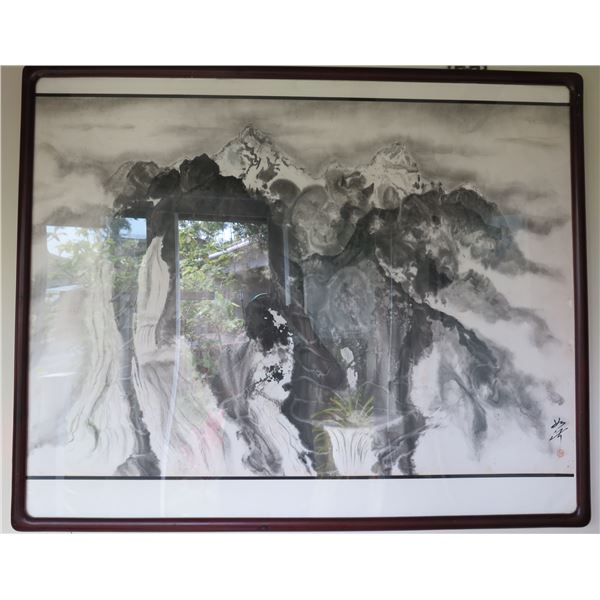 "Framed Art: Watercolor, Black & White, Signed by Artist 41.5"" x 34"""