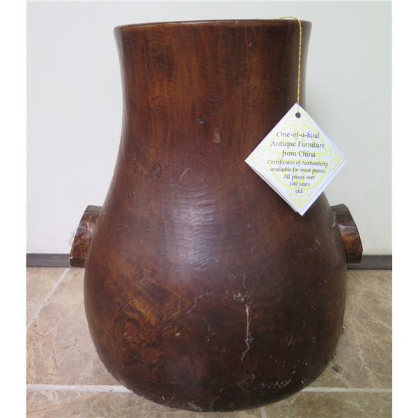 """Antique Chinese Wooden Vase, 14"""" H"""