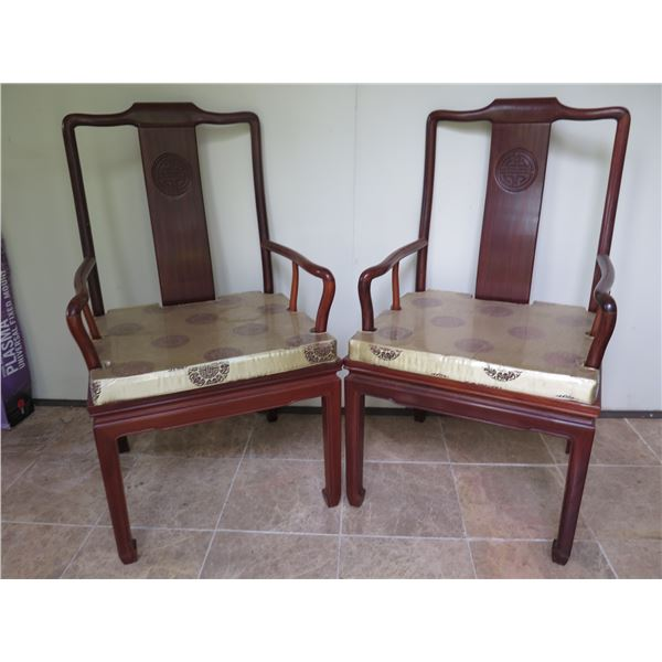 """Qty 3 Asian Wood Carved Armchairs w/Gold Fabric Cushions (1 Damaged) 21.5""""x18""""x39""""H"""