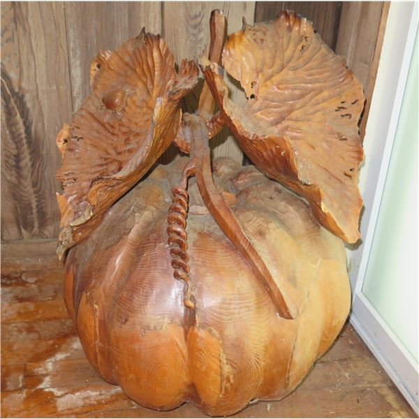 """Carved Wooden Pumpkin w/Leaves 18""""W, 13H"""