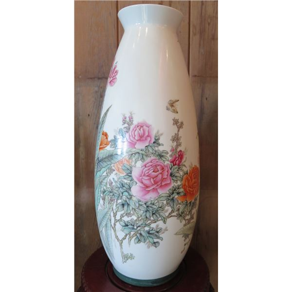 "Porcelain Chinese Vase w/Floral Design, Maker's Mark, 19""Tall"