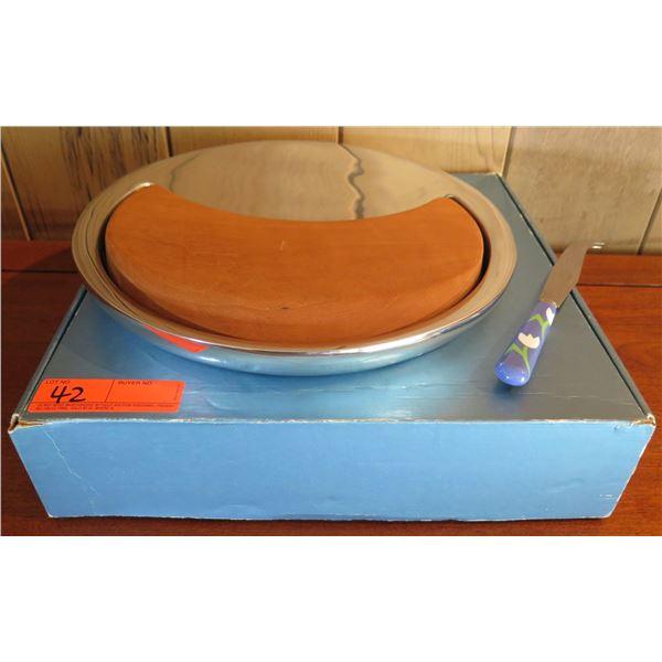 "Nambe Wood & Metal Cheese Tray w/Knife, Maker's Mark 13""Dia"